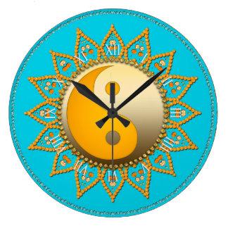 Aqua Gold YinYang Tuscan Sun Home Decor Clock