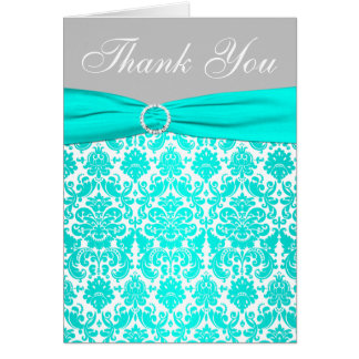 Aqua, Gray, and White Damask Thank You Card Greeting Cards
