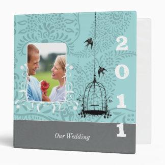 Aqua & Gray Bird Cage Your Photo Wedding Planner 2 Binder
