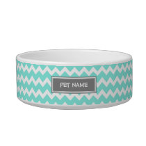 Aqua Gray Chevron Custom Name Cat Bowl