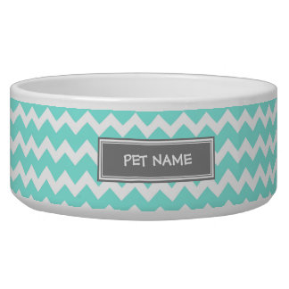 Aqua Gray Chevron Custom Name Dog Bowl