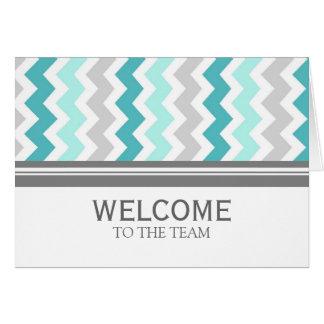 Aqua Gray Chevron Employee Welcome to the Team Card