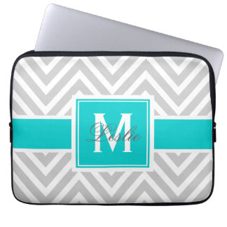 AQUA, GRAY CHEVRON PATTERN PERSONALIZED LAPTOP SLEEVE