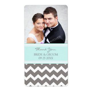 Aqua Gray Chevron Photo Wedding Labels