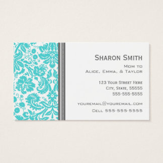 Aqua Gray Damask Mom Calling Cards