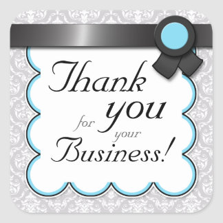 """Aqua & Gray Damask """"Thank you for your Business"""" Square Sticker"""