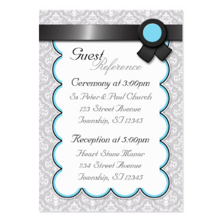 Aqua & Gray Damask Wedding Guest Reference Cards