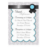 Aqua & Gray Damask Wedding Guest Reference Cards Large Business Cards (Pack Of 100)