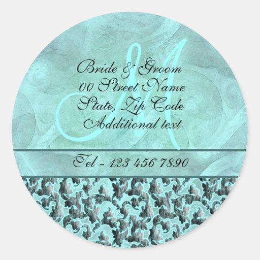 "Aqua gray ""new address"" wedding floral damask stickers"