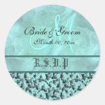 Aqua gray rsvp wedding floral damask classic round sticker