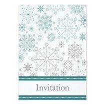 aqua gray snowflake mod winter wedding invites