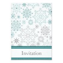 aqua gray snowflake winter wedding invites