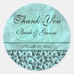 "Aqua gray ""thank you"" wedding damask classic round sticker"
