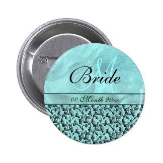 aqua gray wedding bride floral damask button