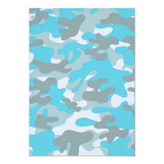 Aqua Gray White Camo Design Card
