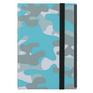 Aqua Gray White Camo Design iPad Mini Cases