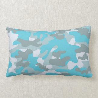 Aqua Gray White Camo Design Lumbar Pillow