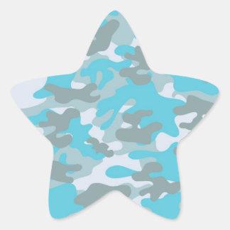 Aqua Gray White Camo Design Star Sticker
