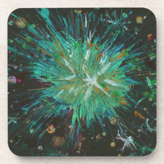 Aqua Green Abstract Art Star Acrylic Painting Beverage Coaster