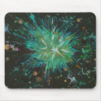 Aqua Green Abstract Art Star Acrylic Painting Mouse Pad