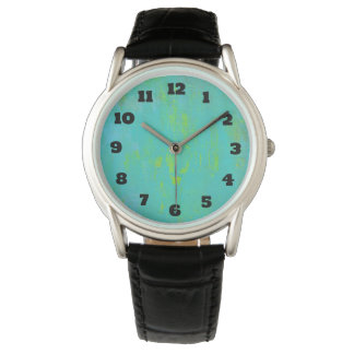 Aqua Green and Lime Green Grunge Abstract Watch
