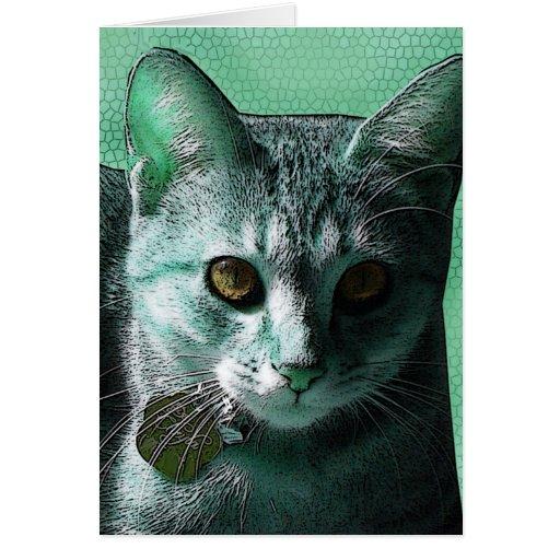 Aqua-green and Orange-eyed Kitty Cat Greeting Card