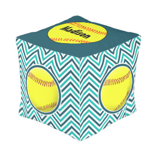 Aqua Green and Teal Softball Zigzag Pattern Pouf