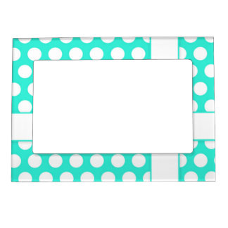 aqua green and white polka dots cute frame