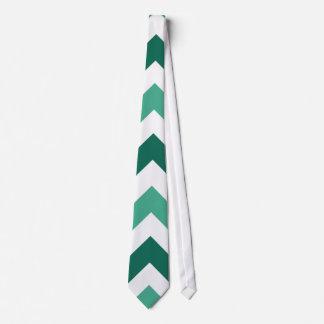 Aqua Green Chevron Zigzag Pattern Tie