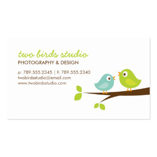 Aqua & Green Cute Birds on a Branch Double-Sided Standard Business Cards (Pack Of 100)