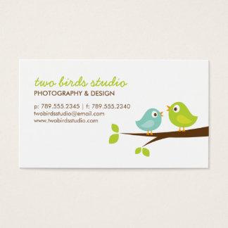 Aqua & Green Cute Birds on a Branch Business Card