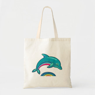 Aqua Green Dolphin Arching Over Rainbow Water Tote Bag