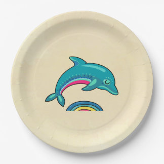Aqua Green Dolphin Curved Over Rainbow Water Paper Plate
