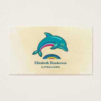 Aqua Green Dolphin Curving Over Multicolored Water Business Card