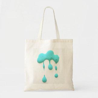 aqua green drips tote bag