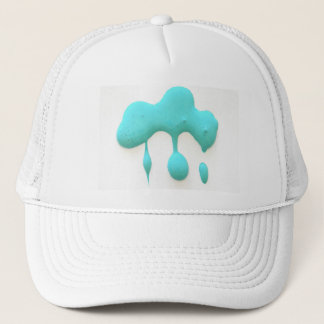 aqua green drips trucker hat