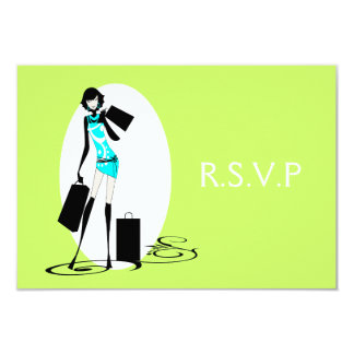 "Aqua green elegant ""sweet sixteen"" rsvp 3.5x5 paper invitation card"