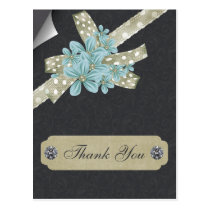 aqua green floral thank you postcard
