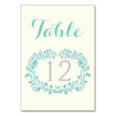 Aqua green foliage frame wedding table number table cards