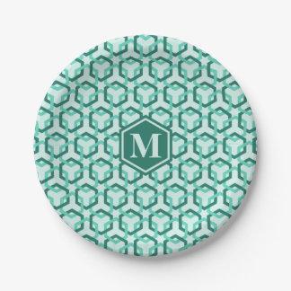 Aqua Green Hexes Paper Plate 7 Inch Paper Plate