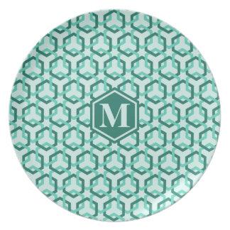 Aqua Green Hexes Plate