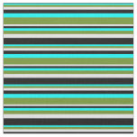 [ Thumbnail: Aqua, Green, Lavender, and Black Striped Pattern Fabric ]