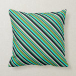 [ Thumbnail: Aqua, Green, Lavender, and Black Striped Pattern Throw Pillow ]