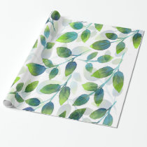 Aqua Green Leaf Pattern Wrapping Paper