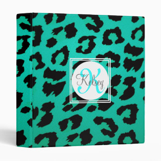Aqua Green Leopard Print Monogram 3 Ring Binder