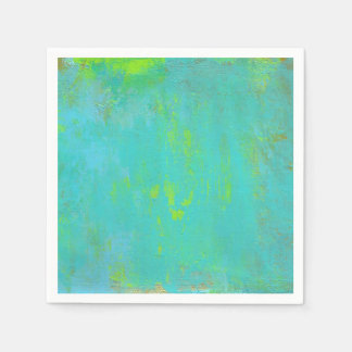 Aqua Green, Lime and Brown Ochre Grunge Abstract Paper Napkin