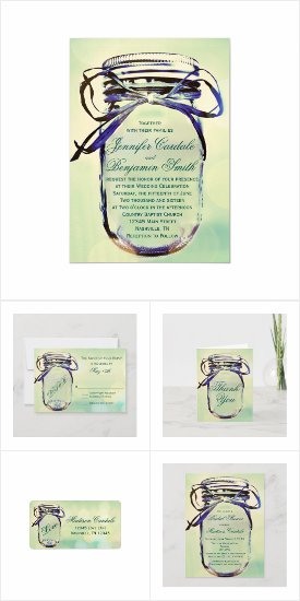 Aqua Green Mason Jar Wedding Invitation Set