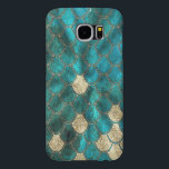 "Aqua green Mermaid Scales with gold glitter Samsung Galaxy S6 Case<br><div class=""desc"">Wonderful Mermaid Scales in aqua and green  and gold glitter. Done with Love by UtArt</div>"