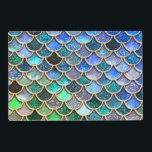 """Aqua green Mermaidscales Spring Glitter for Girls Placemat<br><div class=""""desc"""">This pretty sparkling Mermaid Glitter Scales design is for all Luxury Fashion Lovers. I created with more than 130 different glitter layers. A beautiful fresh blue and aqua turquoise and spring like Design. It is the perfect gift for her for the stylish lady, perfect for her birthday, sweet sixteen favor,...</div>"""
