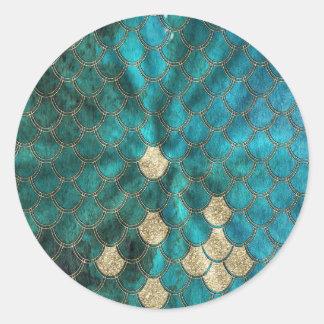 Aqua green Mermaidscales with gold glitter Classic Round Sticker